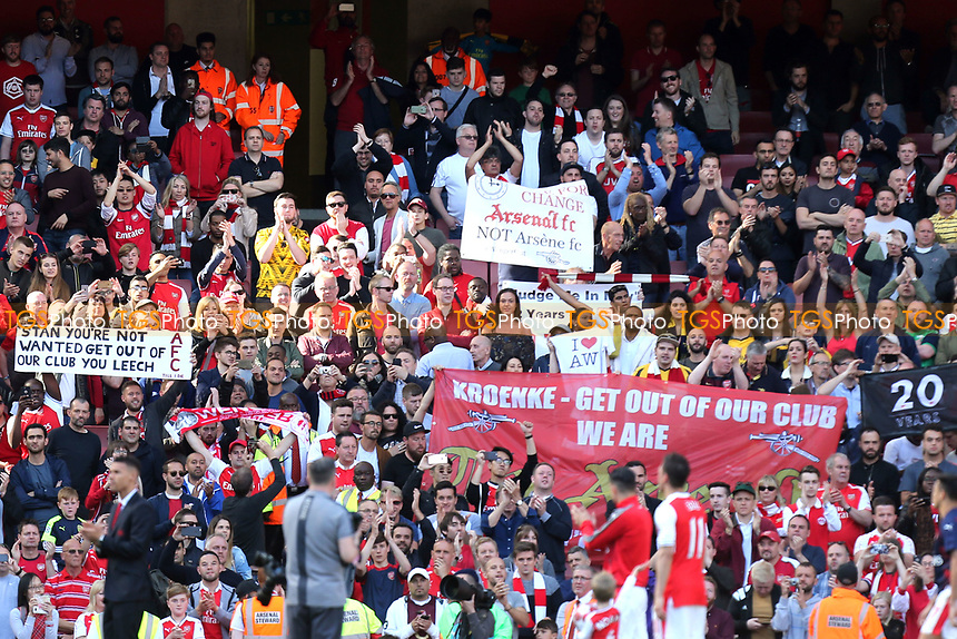 Fans display their feelings with banners after Arsenal vs Everton, Premier League Football at the Emirates Stadium on 21st May 2017