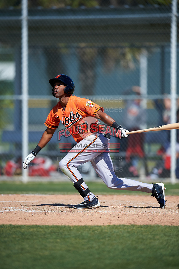 Baltimore Orioles D'Arby Myers (67) follows through on a swing during a minor league Spring Training game against the Boston Red Sox on March 16, 2017 at the Buck O'Neil Baseball Complex in Sarasota, Florida.  (Mike Janes/Four Seam Images)