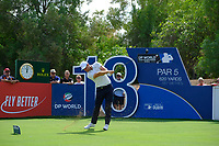 Lucas Bjerregaard (DEN) on the 18th tee during the 3rd round of the DP World Tour Championship, Jumeirah Golf Estates, Dubai, United Arab Emirates. 17/11/2018<br /> Picture: Golffile | Fran Caffrey<br /> <br /> <br /> All photo usage must carry mandatory copyright credit (© Golffile | Fran Caffrey)