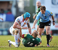 Referee JP Doyle intervenes as tempers flare between Ben White of Exeter Chiefs and Leonardo Ghiraldini of Leicester Tigers. Aviva Premiership match, between Leicester Tigers and Exeter Chiefs on March 28, 2015 at Welford Road in Leicester, England. Photo by: Patrick Khachfe / JMP