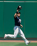Reno Aces center fielder Adam Eaton makes the running catch against the Sacramento River Cats during their game played on Sunday afternoon, July 29, 2012 in Reno, Nevada.