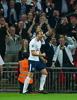 Tottenham's Harry Kane  celebrating his goal during the EPL - Premier League match between Tottenham Hotspur and Newcastle United at Wembley Stadium, London, England on 9 May 2018. Photo by Andrew Aleksiejczuk / PRiME Media Images.