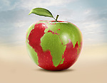 Illustrative image of an apple with world map representing green world