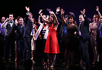 Gavin Creel, Rob Ashford, Dick Scanlan, Sutton Foster, Sheryl Lee Ralph, Marc Kudisch and Kate Baldwin during the curtain Call bows for the Actors Fund's 15th Anniversary Reunion Concert of 'Thoroughly Modern Millie' on February 18, 2018 at the Minskoff Theatre in New York City.