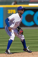 Round Rock shortstop Jurickson Profar (10) on defense against the Nashville Sounds in the Pacific Coast League baseball game on May 5, 2013 at the Dell Diamond in Round Rock, Texas. Round Rock defeated Nashville 5-1. (Andrew Woolley/Four Seam Images).