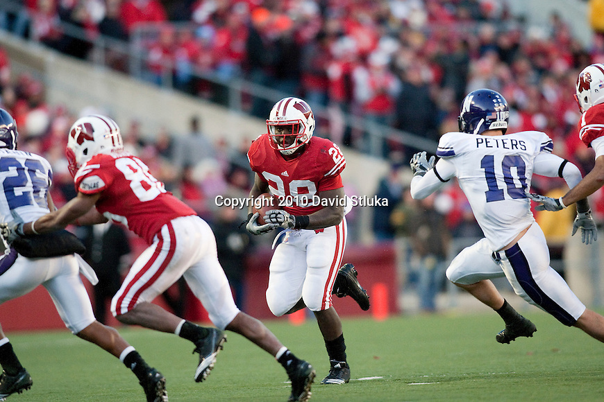 Wisconsin Badgers running back Montee Ball (28) carries the ball during an NCAA college football game against the Northwestern Wildcats on November 27, 2010 at Camp Randall Stadium in Madison, Wisconsin. The Badgers won 70-23. (Photo by David Stluka)
