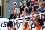 23.08.2018, Sporthalle Berg Fidel, Muenster<br />Volleyball, LŠnderspiel / Laenderspiel, Deutschland vs. Niederlande<br /><br />Angriff Maren Fromm (#4 GER) - Block / DoppelblockJuliet Lohuis (#7 NED), Celeste Plak (#4 NED)<br /><br />  Foto &copy; nordphoto / Kurth
