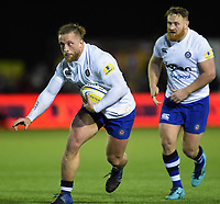 Max Lahiff of Bath Rugby in possession. Aviva Premiership match, between Newcastle Falcons and Bath Rugby on February 16, 2018 at Kingston Park in Newcastle upon Tyne, England. Photo by: Patrick Khachfe / Onside Images