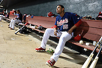 Memphis Redbirds designated hitter Oscar Taveras (15) in the dugout during a game against the Oklahoma City RedHawks on May 23, 2014 at AutoZone Park in Memphis, Tennessee.  Oklahoma City defeated Memphis 12-10.  (Mike Janes/Four Seam Images)
