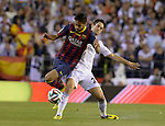 Isco Alarcon vies with Neymar during the Spanish King's Cup Final football match Real Madrid Madrid CF vs FC Barcelona  at the Mestalla stadium in Valencia on April 16, 2014  PHOTOCALL3000 / DP