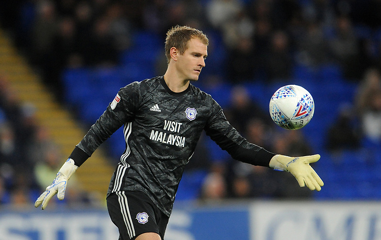 Cardiff City's Alex Smithies during the game<br /> <br /> Photographer Ian Cook/CameraSport<br /> <br /> The EFL Sky Bet Championship - Cardiff City v Queens Park Rangers - Wednesday 2nd October 2019  - Cardiff City Stadium - Cardiff<br /> <br /> World Copyright © 2019 CameraSport. All rights reserved. 43 Linden Ave. Countesthorpe. Leicester. England. LE8 5PG - Tel: +44 (0) 116 277 4147 - admin@camerasport.com - www.camerasport.com
