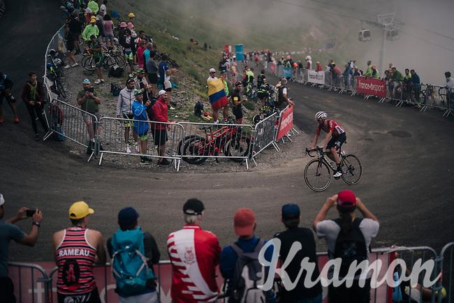 Tomasz Marczynski (POL/Lotto-Soudal) up the brutal Col du Portet (HC/2250m/16km at 8.7%/Souvenir Henri Desgrange) in this historically short stage (only 65km)<br /> <br /> Stage 17: Bagnères-de-Luchon > Saint-Lary-Soulan (65km)<br /> <br /> 105th Tour de France 2018<br /> ©kramon
