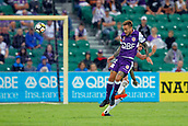 25th March 2018, nib Stadium, Perth, Australia; A League football, Perth Glory versus Melbourne Victory; Adam Taggart of the Perth Glory wins the header against Rhys Williams of Melbourne Victory during the second half