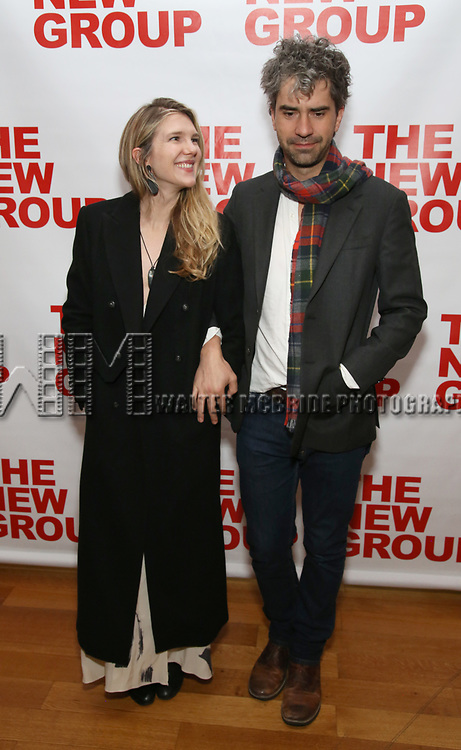 """Lily Rabe and Hamish Linklater attends The New Group presents the New York Premiere Opening Night of David Rabe's for """"Good for Otto"""" on March 8, 2018 at the Green Fig Urban Eatery,  in New York City."""