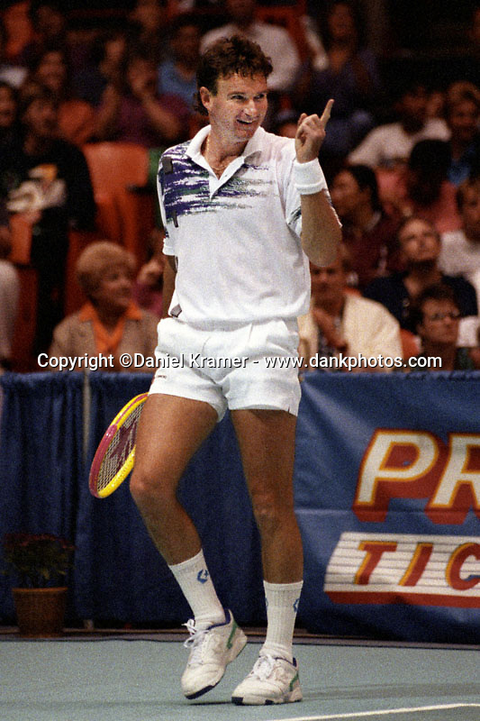 Jimmy Connors defeated John McEnroe, 6-4, 3-6, 6-3 before almost 12,000 fans at the Forum Tennis Challenge in Los Angeles in 1992.