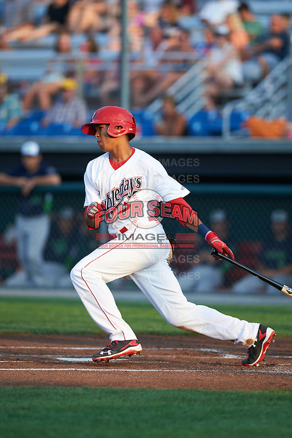 Auburn Doubledays center fielder Blake Perkins (7) at bat during a game against the Vermont Lake Monsters on July 12, 2016 at Falcon Park in Auburn, New York.  Auburn defeated Vermont 3-1.  (Mike Janes/Four Seam Images)