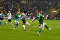19th November 2019, Frankfurt, Germany; 2020 European Championships qualification, Germany versus Northern Ireland;  Serge Gnabry Germany shoots and scores for 3-1