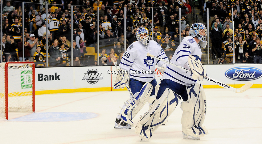 After  giving up  4th goal in the first period Toronto Maple Leafs goalie James Reimer (34) is replaced by Toronto Maple Leafs goalie Jonas Gustavsson (50)....Toronto Maple Leafs  at Boston Bruins, Monday March 19, 2012 at TD Garden in Boston Massachusetts  Mandatory Photo Credit: Eric Canha