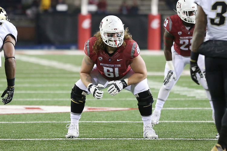 Cole Madison, Washington State University offensive lineman, surveys the defense during the Cougars Pac-12 conference game against the Colorado Buffaloes at Martin Stadium in Pullman, Washington, on November 21, 2015.  The Cougar defense kept Colorado out of the end zone all night, as WSU soundly defeated Colorado, 27-3.