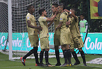 BOGOTÁ - COLOMBIA, 24-04-2019:Mauricio Gomez jugador de Rionegro celebra después de anotar un gol a Equidad durante partido por la fecha 17 de la Liga Águila I 2019 jugado en el estadio Metropolitano de Techo de la ciudad de Bogotá. /Mauricio Gomez player of La Rionegro celebrates after scoring a goal agaisnt of Equidad during the match for the date 17 of the Liga Aguila I 2019 played at the Metropolitano de Techo  stadium in Bogota city. Photo: VizzorImage / Felipe Caicedo / Staff.