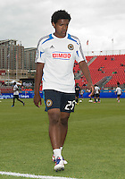 15 September 2012: Philadelphia Union defender Sheanon Williams #25 after the warm-up in an MLS game between the Philadelphia Union and Toronto FC at BMO Field in Toronto, Ontario..The game ended in a 1-1 draw..