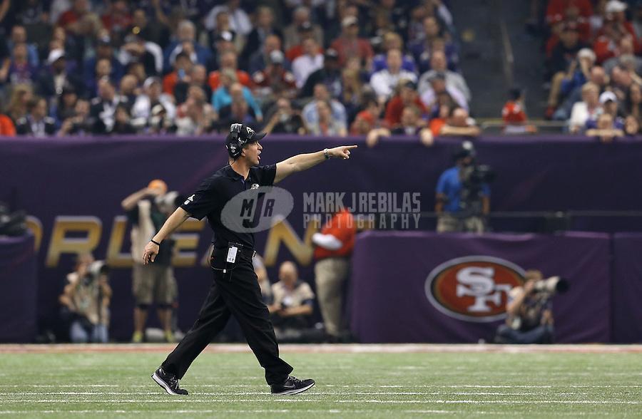 Feb 3, 2013; New Orleans, LA, USA; Baltimore Ravens head coach John Harbaugh during Super Bowl XLVII against the San Francisco 49ers at the Mercedes-Benz Superdome. Mandatory Credit: Mark J. Rebilas-
