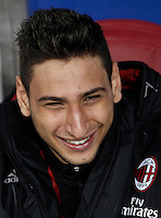 Calcio, quarti di finale di Coppa Italia: Alessandria vs Milan. Torino, stadio Olimpico, 26 gennaio 2016.<br /> AC Milan's goalkeeper Gianluigi Donnarumma sits on the bench during the Italian Cup semifinal first leg football match between Alessandria and AC Milan at Turin's Olympic stadium, 26 January 2016.<br /> UPDATE IMAGES PRESS/Isabella Bonotto