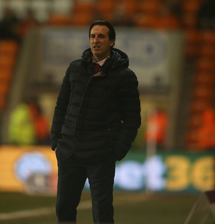 Arsenal Head Coach Unai Emery<br /> <br /> Photographer Stephen White/CameraSport<br /> <br /> Emirates FA Cup Third Round - Blackpool v Arsenal - Saturday 5th January 2019 - Bloomfield Road - Blackpool<br />  <br /> World Copyright &copy; 2019 CameraSport. All rights reserved. 43 Linden Ave. Countesthorpe. Leicester. England. LE8 5PG - Tel: +44 (0) 116 277 4147 - admin@camerasport.com - www.camerasport.com