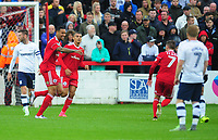 Accrington Stanley's Ben Richards-Everton celebrates scoring his sides first goal <br /> <br /> Photographer Kevin Barnes/CameraSport<br /> <br /> The Carabao Cup - Accrington Stanley v Preston North End - Tuesday 8th August 2017 - Crown Ground - Accrington<br />  <br /> World Copyright &copy; 2017 CameraSport. All rights reserved. 43 Linden Ave. Countesthorpe. Leicester. England. LE8 5PG - Tel: +44 (0) 116 277 4147 - admin@camerasport.com - www.camerasport.com