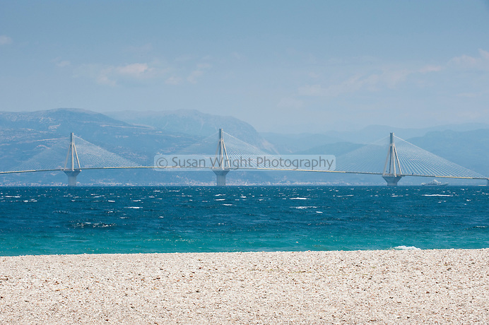 Rio-Antirrio bridge viewed from a beach in Patras, Greece