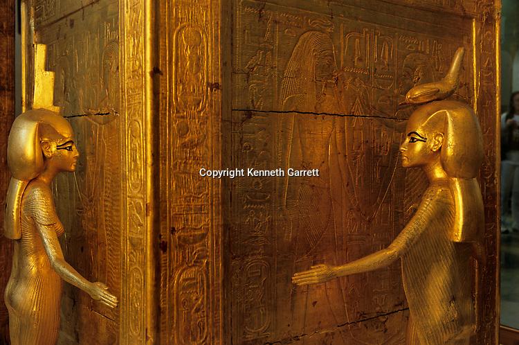 Detail of goddesses surrounding shrine for canopic vases, wood with stucco, gilding and glass paste, Egyptian Museum, Cairo, Pharaoh Tutankhamun, 18th dynasty, Egypt, ca 1332-1322