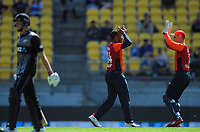 Chris Jordan celebrates dismissing Mitchell Santner (left) with England keeper Sam Billings (right). Twenty20 International cricket match between NZ Black Caps and England at Westpac Stadium in Wellington, New Zealand on Sunday, 3 November 2019. Photo: Dave Lintott / lintottphoto.co.nz