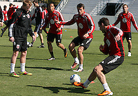 Dax McCarty#10, Charlie Davies#9,Mark Burch#4 and Chris Pontious#13 of D.C. United during a training session in Hapgood Stadium on the campus of the Citadel,on March 11 2011, in Charleston, South Carolina