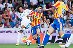 Carlos Soler Barragan (r) of Valencia CF competes for the ball with Marcelo Vieira Da Silva of Real Madrid during their La Liga 2017-18 match between Real Madrid and Valencia CF at the Estadio Santiago Bernabeu on 27 August 2017 in Madrid, Spain. Photo by Diego Gonzalez / Power Sport Images
