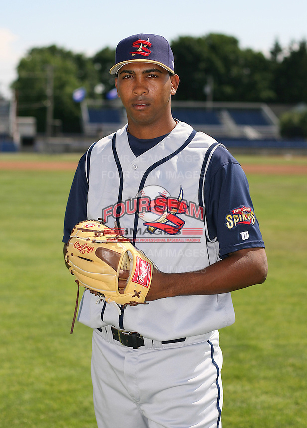 2007:  Basilio Alvarez of the State College Spikes poses for a photo prior to a game vs. the Batavia Muckdogs in New York-Penn League baseball action.  Photo By Mike Janes/Four Seam Images