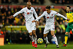 David McGoldrick (L) and Callum Robinson of Sheffield United during the Premier League match at Carrow Road, Norwich. Picture date: 8th December 2019. Picture credit should read: James Wilson/Sportimage