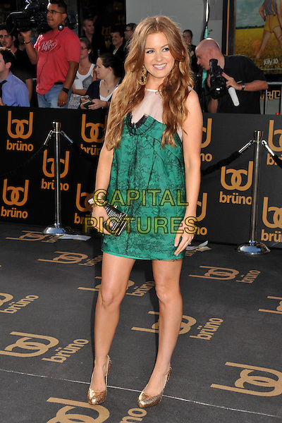"""ISLA FISHER .""""Bruno"""" Los Angeles Premiere held at Grauman's Chinese Theatre, Hollywood, CA, USA..June 25th, 2009 .full length black green lace white sheer dress black clutch bag gold shoes.CAP/ADM/BP.©Byron Purvis/AdMedia/Capital Pictures."""