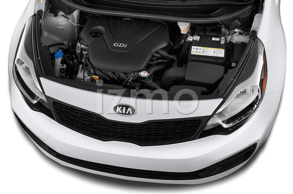Car Stock 2015 KIA Rio LX AT 4 Door Sedan 2WD Engine high angle detail view
