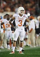 Jan 7, 2010; Pasadena, CA, USA; Texas Longhorns cornerback Curtis Brown during the 2010 BCS national championship game against the Alabama Crimson Tide at the Rose Bowl. Alabama defeated Texas 37-21. Mandatory Credit: Mark J. Rebilas-.