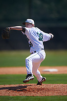 Dartmouth Big Green relief pitcher Chris Burkholder (16) delivers a pitch during a game against the Iowa Hawkeyes on February 27, 2016 at South Charlotte Regional Park in Punta Gorda, Florida.  Iowa defeated Dartmouth 4-1.  (Mike Janes/Four Seam Images)