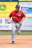 Brad Eldred #48 of the Syracuse Chiefs rounds the bases after hitting a home run at Knights Castle May 3, 2009 in Fort Mill, South Carolina. (Photo by Brian Westerholt / Four Seam Images)