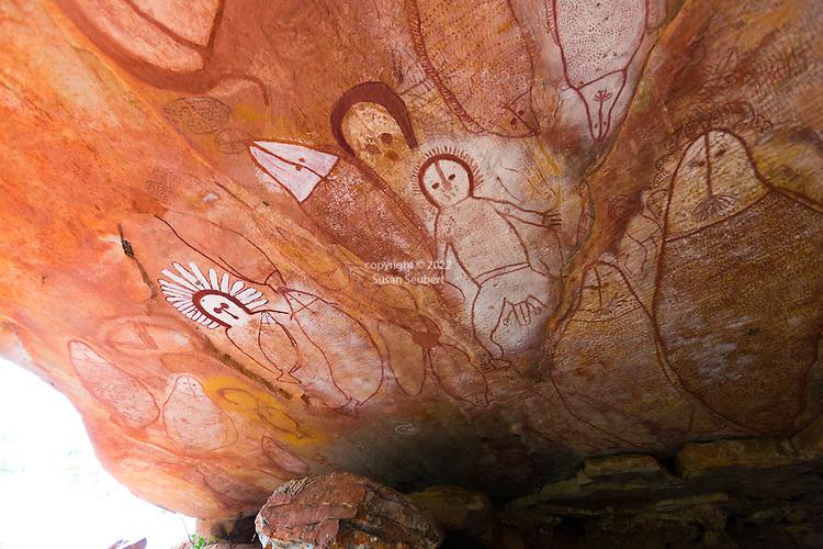Gwion Gwion, otherwise known as Bradshaw Art, at Raft Point, (Ngumbri), Kimberley Coast, Australia