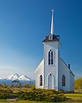 Siskiyou County, CA<br /> Morning light the Little Shasta Valley church.