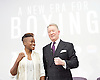 Frank Warren Boxing Promoter and BT Sport Press Conference at BT Tower London Great Britain <br /> <br /> 23rd January 2017 <br /> <br /> Frank Warren introduces Boxers who will be taking part in tournaments during 2017. <br /> <br /> Franks Warren with Nicola Adams<br /> who is signed to fight on 8th April 2017 <br /> at Manchester Arena <br /> <br /> <br /> Photograph by Elliott Franks <br /> Image licensed to Elliott Franks Photography Services
