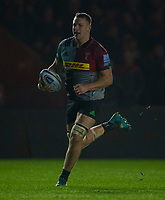 Harlequins' Alex Dombrandt on his way to scoring his  side's first try<br /> <br /> Photographer Bob Bradford/CameraSport<br /> <br /> Gallagher Premiership Round 7 - Harlequins v Newcastle Falcons - Friday 16th November 2018 - Twickenham Stoop - London<br /> <br /> World Copyright © 2018 CameraSport. All rights reserved. 43 Linden Ave. Countesthorpe. Leicester. England. LE8 5PG - Tel: +44 (0) 116 277 4147 - admin@camerasport.com - www.camerasport.com