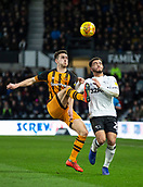 9th February 2019, Pride Park, Derby, England; EFL Championship football, Derby Country versus Hull City; Robbie McKenzie of Hull City clears the ball with Mason Bennett of Derby County closing