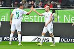 06.10.2019, Commerzbankarena, Frankfurt, GER, 1. FBL, Eintracht Frankfurt vs. SV Werder Bremen, <br /> <br /> DFL REGULATIONS PROHIBIT ANY USE OF PHOTOGRAPHS AS IMAGE SEQUENCES AND/OR QUASI-VIDEO.<br /> <br /> im Bild: Davy Klaassen (SV Werder Bremen #30) jubelt ueber sein Tor zum 0:1, mit dabei Milos Veljkovic (SV Werder Bremen #13)<br /> <br /> Foto © nordphoto / Fabisch