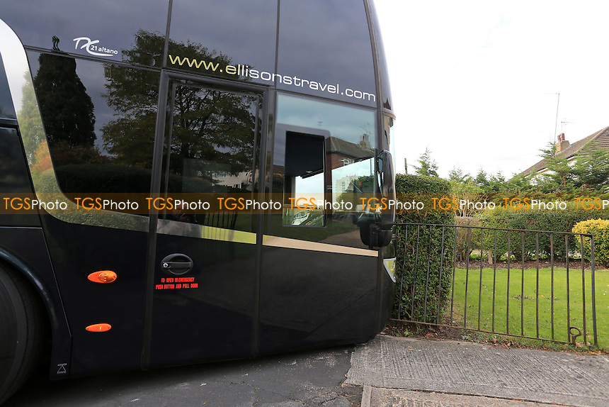 A view of the Arsenal coach which had become stuck outside the ground entrance in Broughinge Road after breaking down ahead of Arsenal Under-19 vs Ludogorets Razgrad Under-19, UEFA Youth League Football at Meadow Park on 19th October 2016