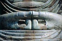 Japan, Kamakura: hands (close-up) of Buddha Daibutsu, statue, at Kotokuin-Temple, built 1252, showing Buddha Amitabha
