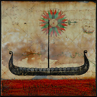Viking ship on antique map encaustic photo transfer by Jeff League.